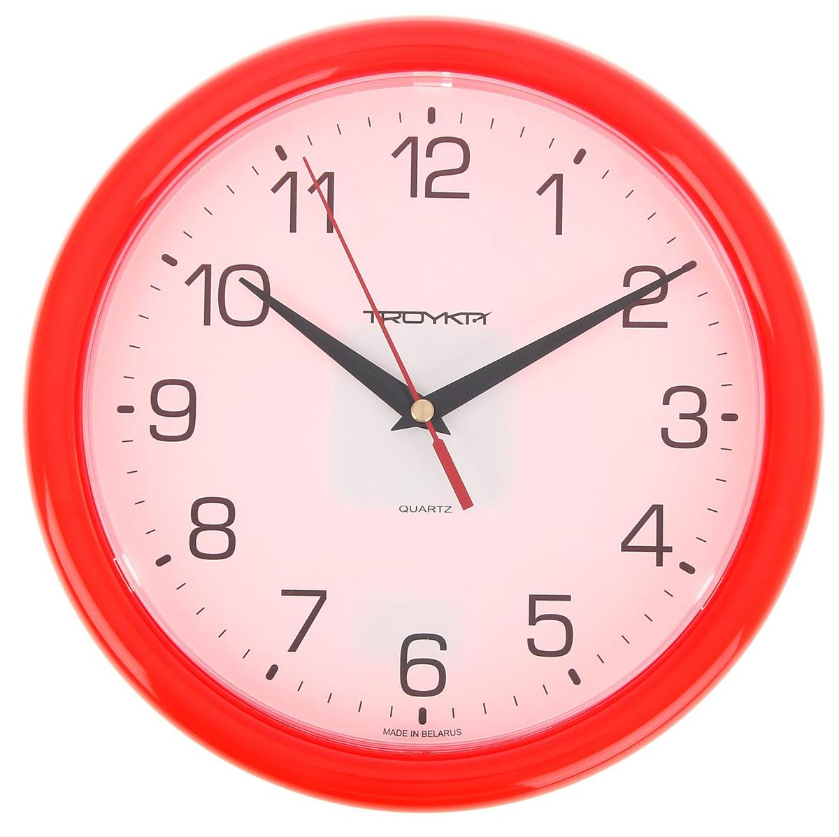 """Часы настенные круглые Every Day, d=24,5 см, белый циферблат, рама красная — сувенир в полном смысле этого слова. И главная его задача — хранить воспоминание о месте, где вы побывали, или о том человеке, который подарил данный предмет. Преподнесите эту вещь своему другу, и она станет достойным украшением его дома. Каждому хозяину периодически приходит мысль обновить свою квартиру, сделать ремонт, перестановку или кардинально поменять внешний вид каждой комнаты. Часы настенные круглые Every Day, d=24,5 см, белый циферблат, рама красная — привлекательная деталь, которая поможет воплотить вашу интерьерную идею, создать неповторимую атмосферу в вашем доме. Окружите себя приятными мелочами, пусть они радуют глаз и дарят гармонию.Часы настенные круглые """"Классика"""", красное кольцо, бел циферблат, 24,5 см микс 1256215"""