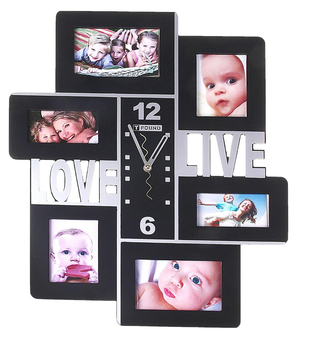 Часы настенные Love. Live, черные + 6 фоторамок от 10 ? 10 см – пикантная деталь, которая придаст интерьеру яркий акцент, законченный вид и позволит всегда планировать свое время с наибольшей эффективностью. Любовная тематика, выраженная в часах, непременно понравится вашему избраннику, возможно, такой комплимент станет началом чего-то нового и романтического.Часы настенные хайтек+6 фоторамок Love/Live черные (фото от10х10) 39*47см 127135