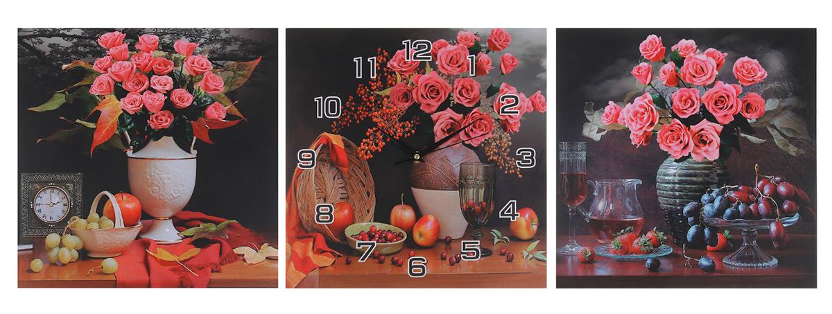Часы-картина настенные Цветы в вазах, 30 х 30 см