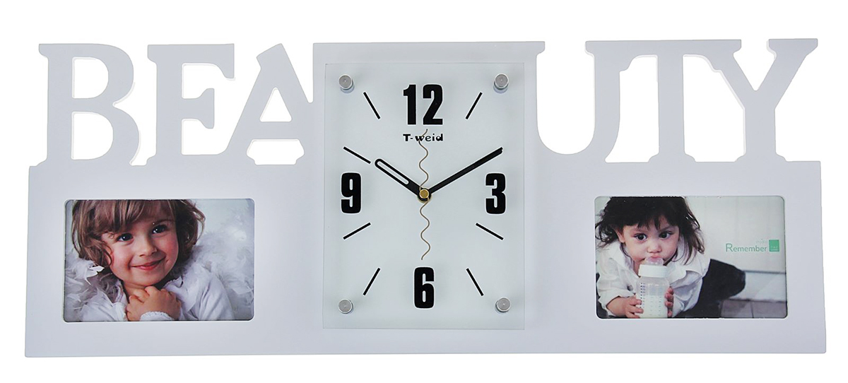 Часы настенные Хайтек. Beauty, 2 фоторамки 10х15, цвет: белый, 24 х 59 см1275023Каждому хозяину периодически приходит мысль обновить свою квартиру, сделать ремонт, перестановку или кардинально поменять внешний вид каждой комнаты. Часы настенные Beauty, белые + 2 фоторамки 10 ? 15 см — привлекательная деталь, которая поможет воплотить вашу интерьерную идею, создать неповторимую атмосферу в вашем доме. Окружите себя приятными мелочами, пусть они радуют глаз и дарят гармонию. Хотите создать свое небольшое генеалогическое древо, но не знаете как? Начните с такой прекрасной фоторамки в виде коллажа! Она не только украсит ваш интерьер, объединит дорогие сердцу события в одну замечательную композицию, но и заложит фундамент для создания семейного дерева. Такая необычная фоторамка станет чудесным подарком по случаю праздника.Часы настенные хайтек+2 фоторамки Beauty белые (фото 10х15) 24*59см 1275023