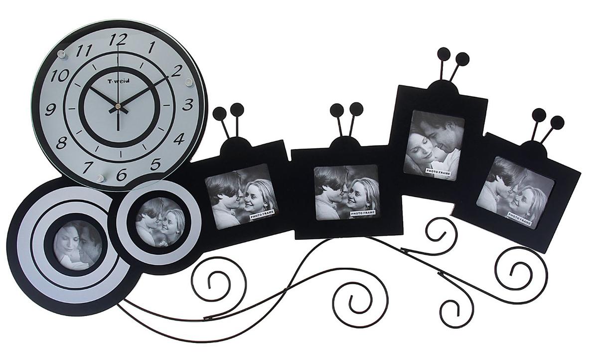 """Часы настенные """"Хайтек. Гусеница"""" - оригинальная и функциональная деталь интерьера в доме. Не только подскажет время, но и напомнит о дорогих сердцу людях и приятных моментах жизни. Количество и размеры фоторамок: квадратные — 9 х 9 см (2 шт.), прямоугольные — 8 х 10 см (2 шт.), круглые — d=7 см (2 шт.).Окружите себя приятными мелочами, пусть они радуют глаз и дарят гармонию."""