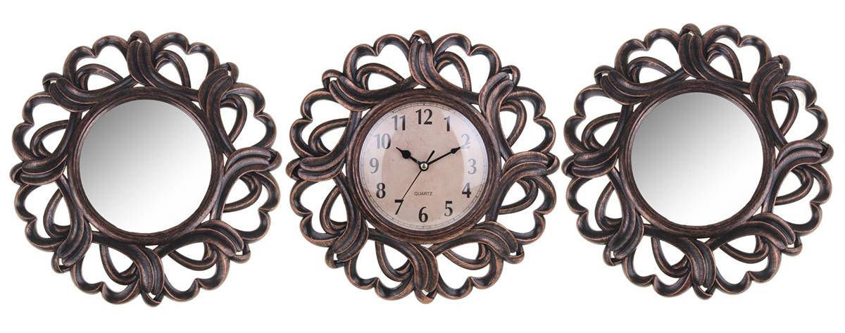 Часы настенные Лепнина, с 2 зеркалами, 79 х 28 см1275443Каждому хозяину периодически приходит мысль обновить свою квартиру, сделать ремонт, перестановку или кардинально поменять внешний вид каждой комнаты.Часы настенные интерьерные Лепнина + 2 зеркала, под бронзу — привлекательная деталь, которая поможет воплотить вашу интерьерную идею, создать неповторимую атмосферу в вашем доме.Окружите себя приятными мелочами, пусть они радуют глаз и дарят гармонию.Часы настенные Лепнина 2 зеркала, бронза, 79х28х4 см 1275443