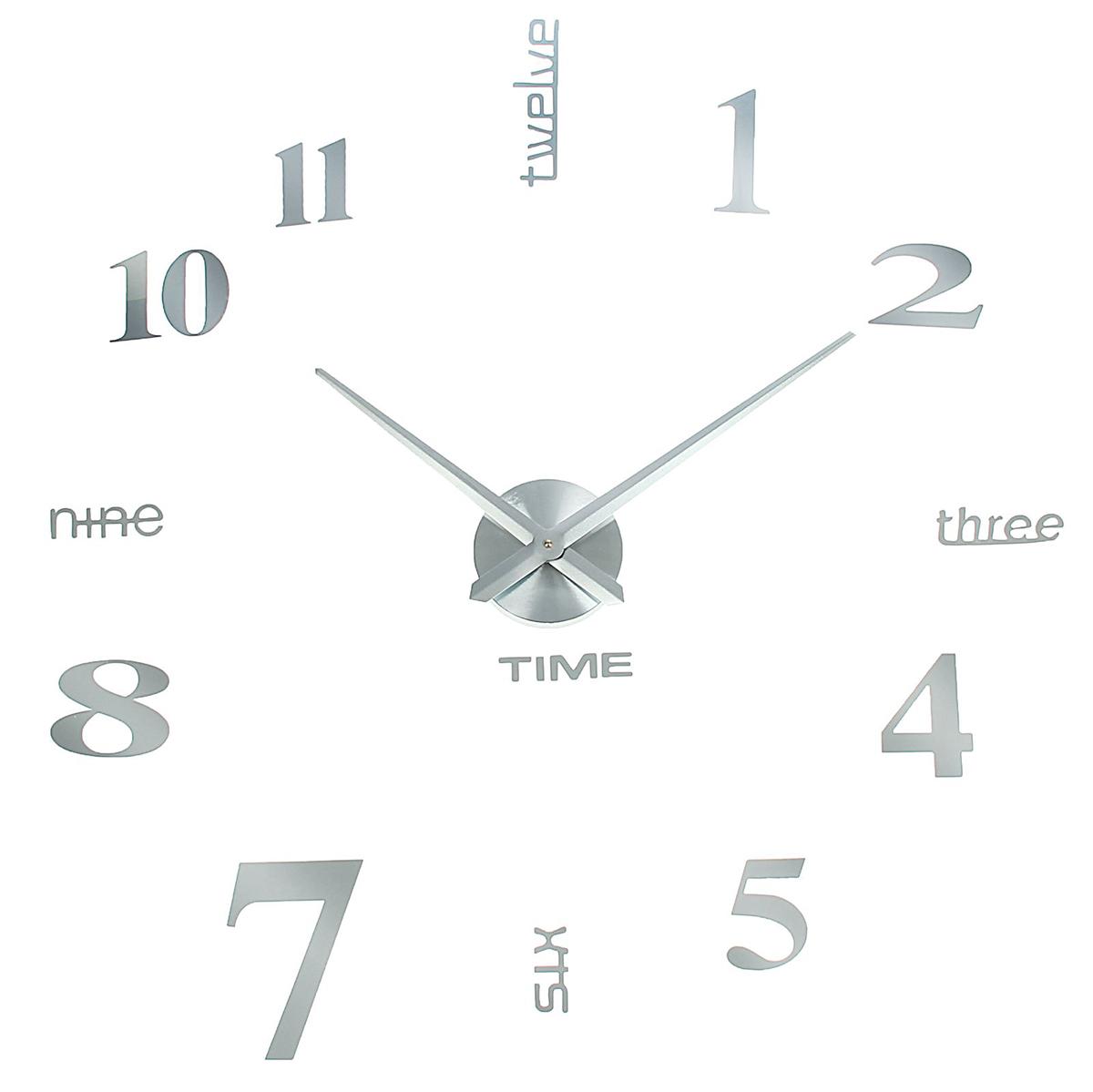 Часы-наклейка настенные DIY Объем модерн, цвет: серебро, 120 см1306699Каждому хозяину периодически приходит мысль обновить свою квартиру, сделать ремонт, перестановку или кардинально поменять внешний вид каждой комнаты. Часы-наклейка DIY Объем модерн, d=120 см, серебристые — привлекательная деталь, которая поможет воплотить вашу интерьерную идею, создать неповторимую атмосферу в вашем доме. Окружите себя приятными мелочами, пусть они радуют глаз и дарят гармонию.Часы-наклейка DIY Объём модерн, серебро, 120см 1306699