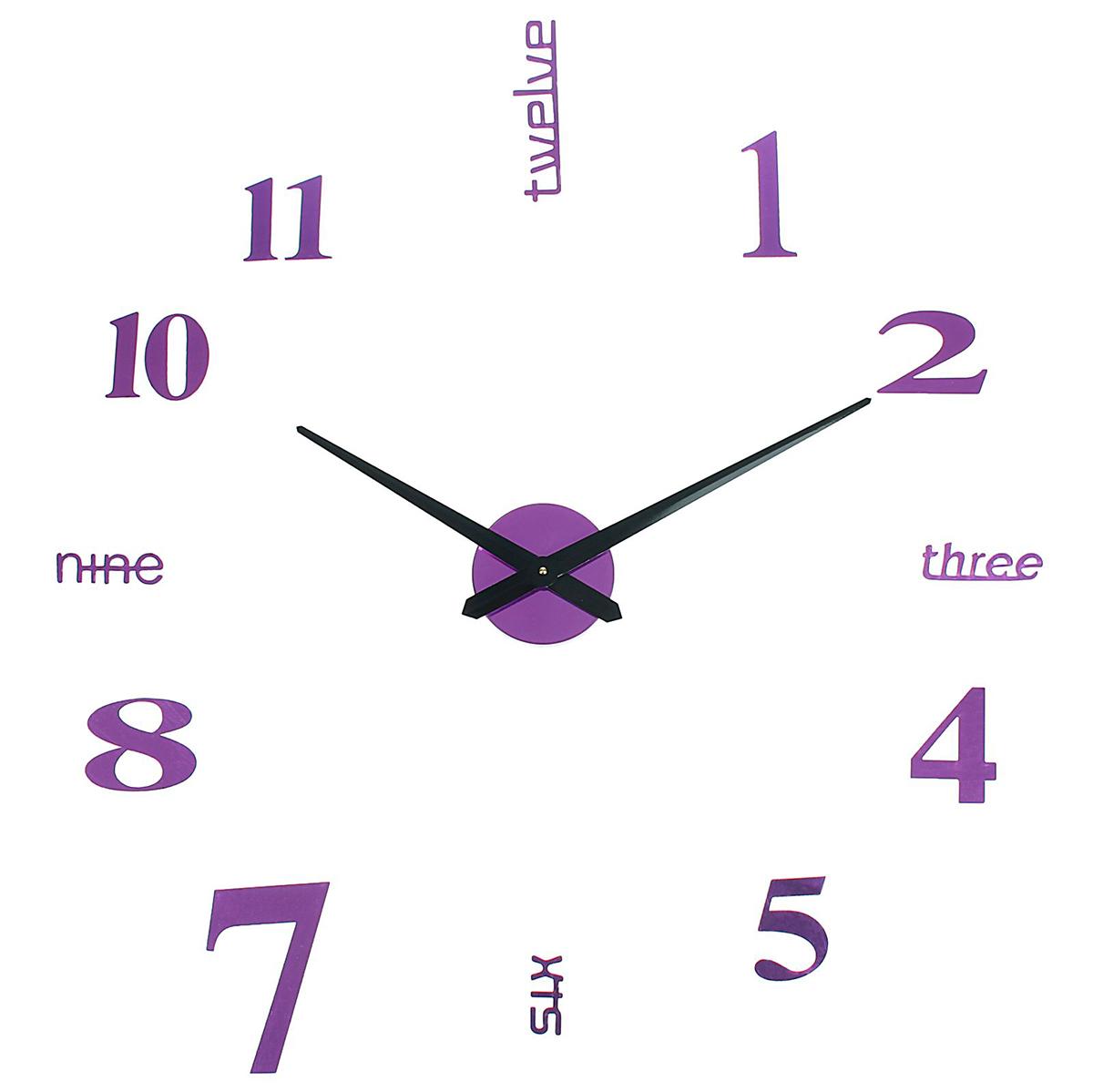 Часы-наклейка настенные DIY Объем модерн, цвет: пурпур, 120 см1306702Часы-наклейки продолжают завоевывать популярность по всему миру. Их используют вместо картин, постеров или рамок для фото. Такой элемент декора впишется в любой интерьер и преобразит комнату за считанные минуты. Преимущества При желании размеры изделия можно изменить в большую или меньшую сторону. Все элементы легко наклеиваются и снимаются. Подходят для любых ровных поверхностей (стен, потолков, кафеля, стекла, мебели). Характеристики Механизм работает от одной батарейки АА (не входит в комплект). Легкая основа надежно крепится. Размеры стрелок Минутная: 38,8 см. Часовая: 31,4 см. Создавайте часы в собственном стиле, проявляйте изобретательность и креативность. Не обязательно располагать числа по кругу — придайте аксессуару необычную форму, поменяйте диаметр циферблата, используйте не все элементы. Комплектующие легко клеятся на стену и без труда снимаются, поэтому смело воплощайте идеи в жизнь! У вас всегда будет возможность отсоединить детали и сделать все заново.Часы-наклейка DIY Объём модерн, пурпур, 120см 1306702