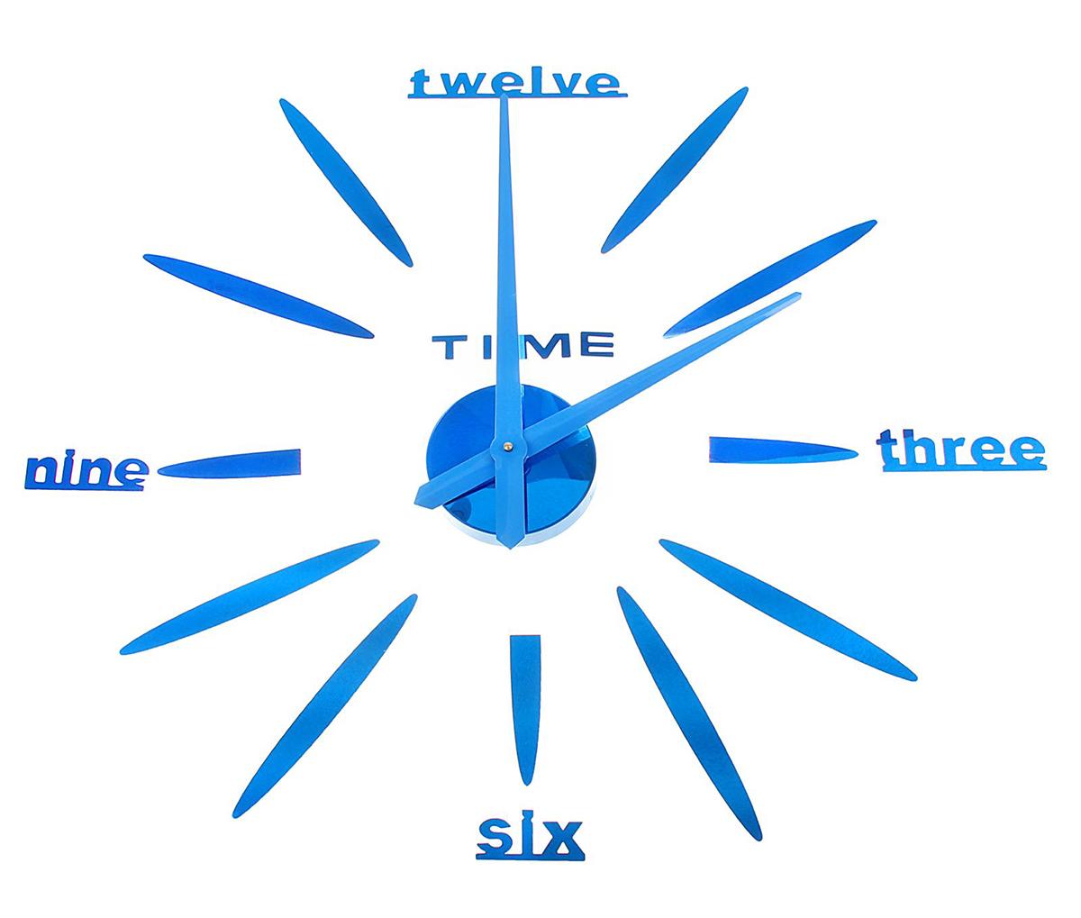 Часы-наклейка настенные DIY Объем модерн, цвет: лазурь, 120 см1306703Часы-наклейки продолжают завоевывать популярность по всему миру. Их используют вместо картин, постеров или рамок для фото. Такой элемент декора впишется в любой интерьер и преобразит комнату за считанные минуты. Преимущества При желании размеры изделия можно изменить в большую или меньшую сторону. Все элементы легко наклеиваются и снимаются. Подходят для любых ровных поверхностей (стен, потолков, кафеля, стекла, мебели). Характеристики Механизм работает от одной батарейки АА (не входит в комплект). Легкая основа для цифр надежно крепится. Размеры стрелок Минутная: 38,8 см. Часовая: 37,5 см. Создавайте часы в собственном стиле, проявляйте изобретательность и креативность. Не обязательно располагать числа по кругу — придайте аксессуару необычную форму, поменяйте диаметр циферблата, используйте не все элементы. Комплектующие легко клеятся на стену и без труда снимаются, поэтому смело воплощайте идеи в жизнь! У вас всегда будет возможность отсоединить детали и сделать все заново.Часы-наклейка DIY Объём модерн, лазурь, 120см 1306703