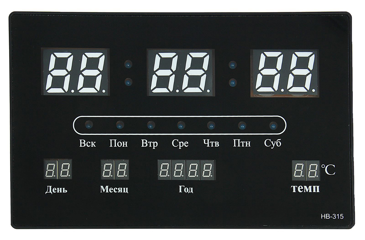Часы настенные электронные, с календарем, 33 х 20 х 3 см