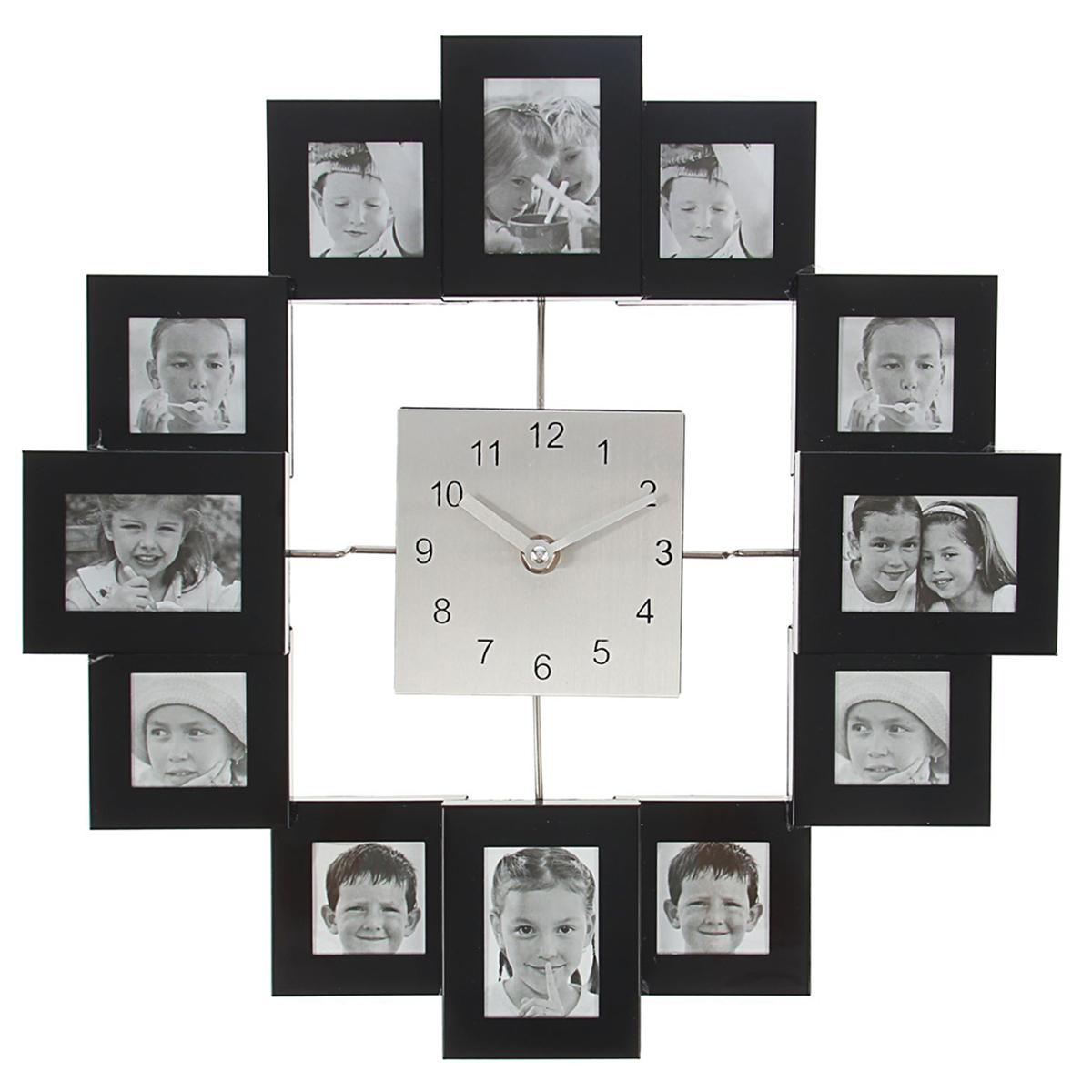 Часы настенные Хайтек, 12 фоторамок, 4х4, 4х6, диаметр 35 см1550650Каждому хозяину периодически приходит мысль обновить свою квартиру, сделать ремонт, перестановку или кардинально поменять внешний вид каждой комнаты. Часы настенные Хайтек. Стиль, d=35 см, черно-белые + 12 фоторамок: 8 шт. 4 ? 4 и 4 шт.4 ? 6 см — привлекательная деталь, которая поможет воплотить вашу интерьерную идею, создать неповторимую атмосферу в вашем доме. Окружите себя приятными мелочами, пусть они радуют глаз и дарят гармонию. Хотите создать свое небольшое генеалогическое древо, но не знаете как? Начните с такой прекрасной фоторамки в виде коллажа! Она не только украсит ваш интерьер, объединит дорогие сердцу события в одну замечательную композицию, но и заложит фундамент для создания семейного дерева. Такая необычная фоторамка станет чудесным подарком по случаю праздника.Часы настенные хайтек+12 фоторамок квадраты с черным (фото 4х4-8шт 4х6-4шт) d=35см 1550650