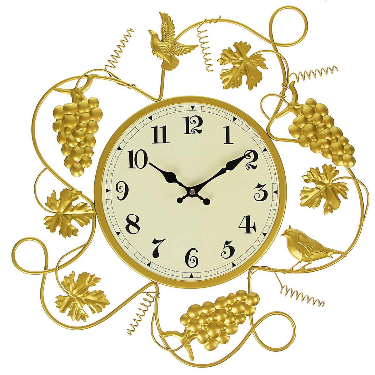 Часы настенные Ажур. Птички и виноградная лоза, 48 х 49 см1586079Каждому хозяину периодически приходит мысль обновить свою квартиру, сделать ремонт, перестановку или кардинально поменять внешний вид каждой комнаты. — привлекательная деталь, которая поможет воплотить вашу интерьерную идею, создать неповторимую атмосферу в вашем доме. Окружите себя приятными мелочами, пусть они радуют глаз и дарят гармонию.Часы настенные серия Ажур Птички и виноградная лоза 48*49см 1586079
