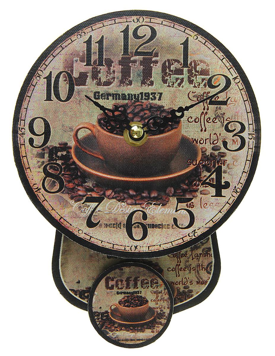 Часы настенные Кофе в чашечке, с маятником, диаметр 14 см1586513Каждому хозяину периодически приходит мысль обновить свою квартиру, сделать ремонт, перестановку или кардинально поменять внешний вид каждой комнаты. — привлекательная деталь, которая поможет воплотить вашу интерьерную идею, создать неповторимую атмосферу в вашем доме. Окружите себя приятными мелочами, пусть они радуют глаз и дарят гармонию.часы настенные круг с маятником на циферблате Кофе в чашечке d=14см 1586513