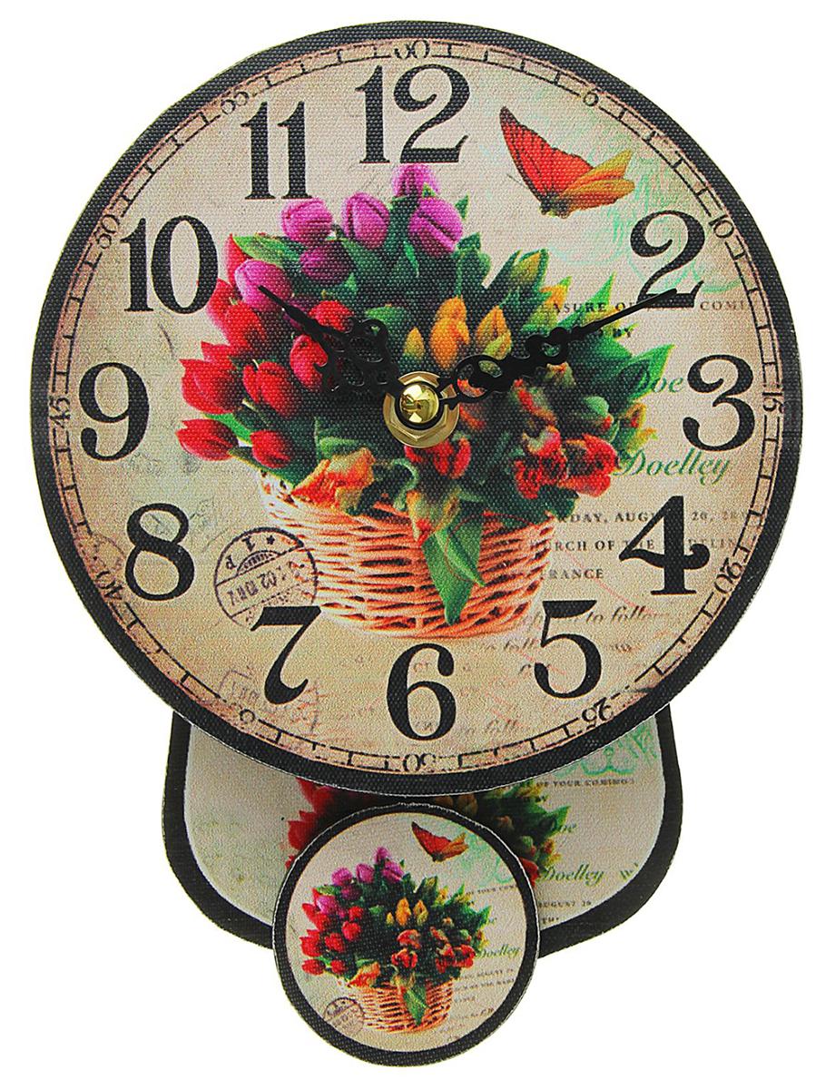 Часы настенные Тюльпаны в корзине, с маятником, диаметр 14 см 41 лилию в корзине