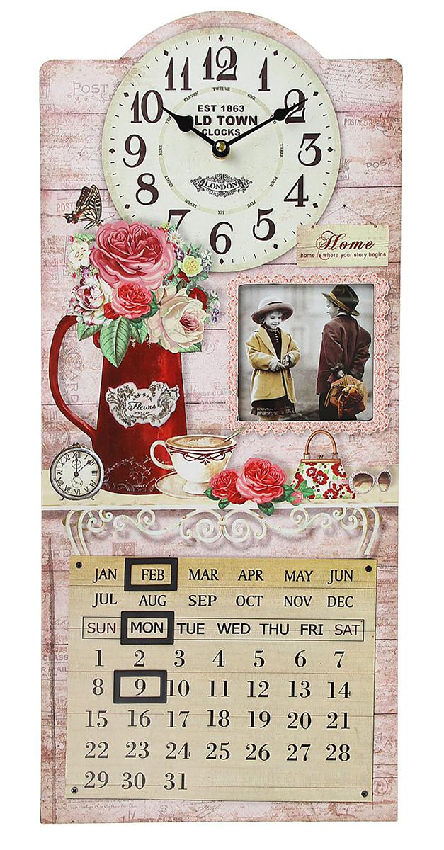 Часы настенные Розы в кувшине, с фоторамкой 10х10 и календарем, 27 х 60 см фоторамки русские подарки фоторамка