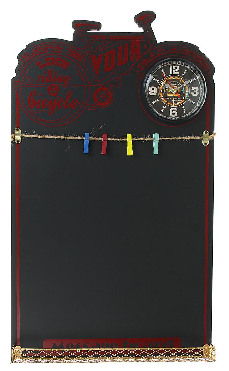 Часы настенные Велосипед, с доской для записей, 35 х 60 см книга для записей с практическими упражнениями для здорового позвоночника