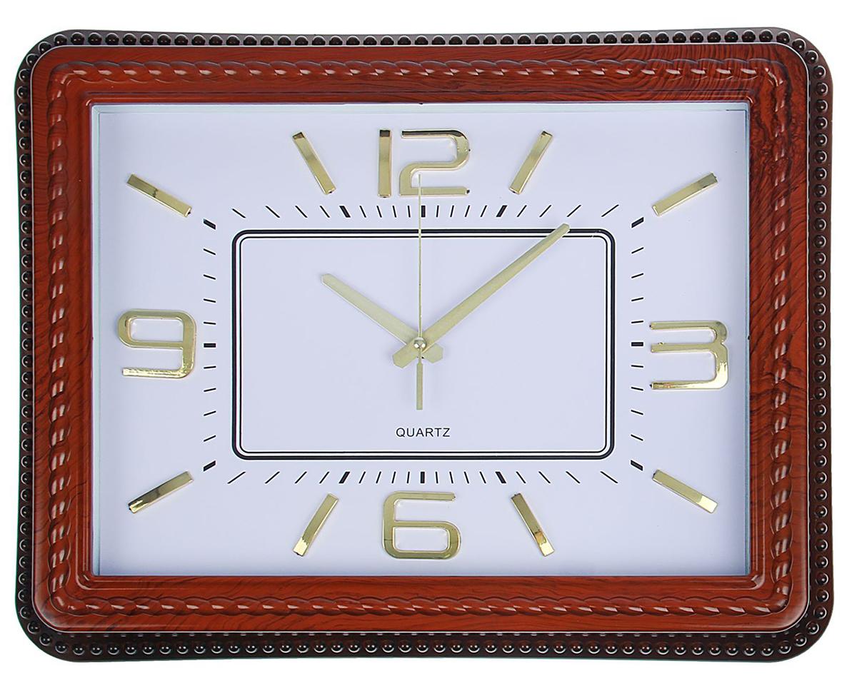 Часы настенные Косичка, цвет: коричневый, белый, 38 х 48 см1586973Каждому хозяину периодически приходит мысль обновить свою квартиру, сделать ремонт, перестановку или кардинально поменять внешний вид каждой комнаты. Часы настенные прямоугольные Colin, белый циферблат, рама-косичка под дерево, цифры золотистые — привлекательная деталь, которая поможет воплотить вашу интерьерную идею, создать неповторимую атмосферу в вашем доме. Окружите себя приятными мелочами, пусть они радуют глаз и дарят гармонию.Часы настенные прямоугольные, коричневая рама косичка, белый циферблат, цифры золото 38*48см 15869