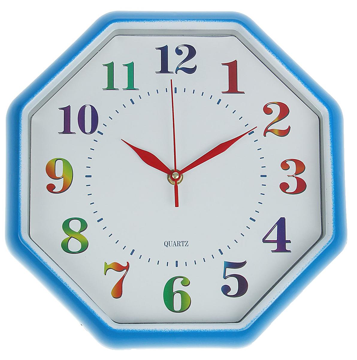 Часы настенные Соты, 30 х 30 см1586975Каждому хозяину периодически приходит мысль обновить свою квартиру, сделать ремонт, перестановку или кардинально поменять внешний вид каждой комнаты. Часы настенные многогранник Разноцветные цифры, 30 ? 30 см, белый циферблат, рама голубая — привлекательная деталь, которая поможет воплотить вашу интерьерную идею, создать неповторимую атмосферу в вашем доме. Окружите себя приятными мелочами, пусть они радуют глаз и дарят гармонию.Часы настенные соты, белый циферблат с разноцветными цифрами 30*30см 1586975