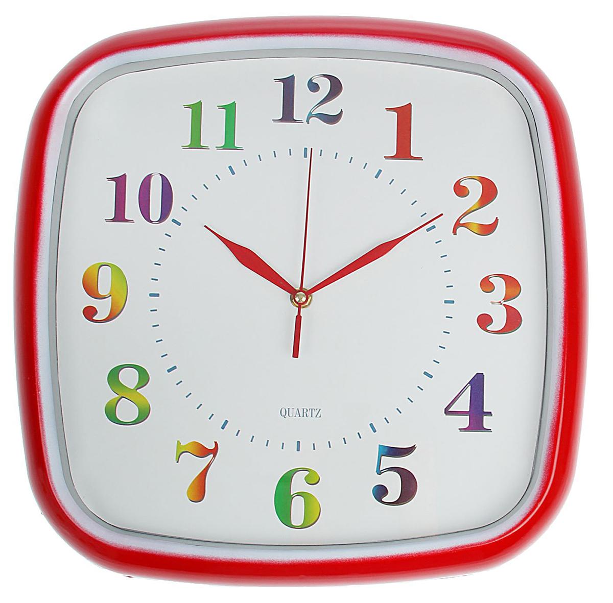 Часы настенные Разноцветные цифры, 38 х 38 см1586976Каждому хозяину периодически приходит мысль обновить свою квартиру, сделать ремонт, перестановку или кардинально поменять внешний вид каждой комнаты. Часы настенные квадратные Разноцветные цифры — привлекательная деталь, которая поможет воплотить вашу интерьерную идею, создать неповторимую атмосферу в вашем доме. Окружите себя приятными мелочами, пусть они радуют глаз и дарят гармонию.