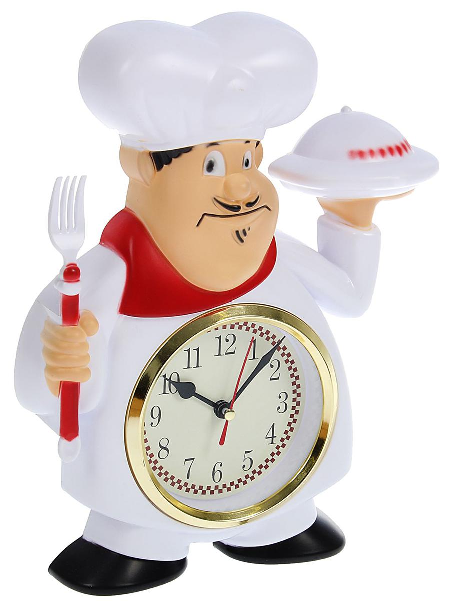 Часы настенные Повар с блюдом и вилкой, 22 х 28 см1588313Каждому хозяину периодически приходит мысль обновить свою квартиру, сделать ремонт, перестановку или кардинально поменять внешний вид каждой комнаты. Часы настенные кухонные Повар с блюдом и вилкой — привлекательная деталь, которая поможет воплотить вашу интерьерную идею, создать неповторимую атмосферу в вашем доме. Окружите себя приятными мелочами, пусть они радуют глаз и дарят гармонию.Часы настенные Повар с блюдом и вилкой 22*28см 1588313