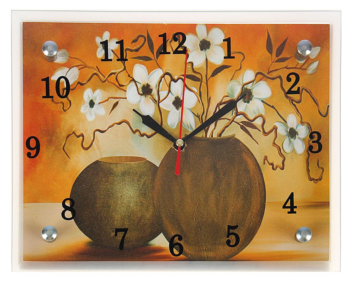 Часы-картина настенные Сюжет Белые цветы в вазе, 20 х 25 см ивантеевка квартиру в монолитно кирпичном доме