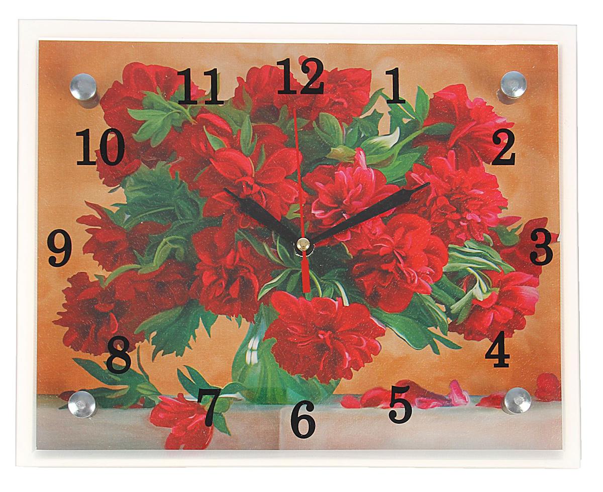 """Часы настенные прямоугольные Сюжет """"Красные цветы в вазе"""", 20 х 25 см"""