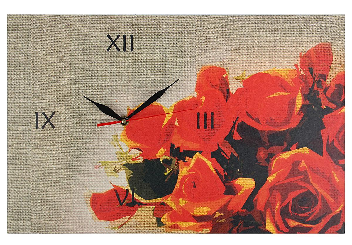 Часы настенные на холсте Розы, 45 х 30 см