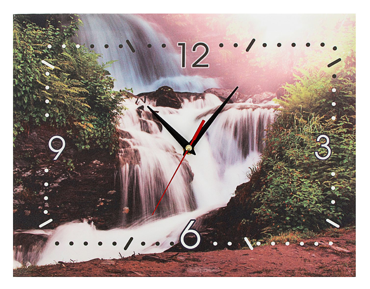 Часы-картина настенные Водопад, 45 х 35 см1657290Пунктуальность и элегантность Хотите обновить интерьер быстро и без особых затрат? Часы-картина — вариант для вас! Стильные полотна добавят новые акценты и свежие нотки в оформление комнаты. Оригинальные часы помогут создать неповторимую атмосферу уюта в спальне, гостиной или кухне. Изделие работает от батареек типа АА (в комплект не входят).Часы-картина Водопад 45х35см 1657290