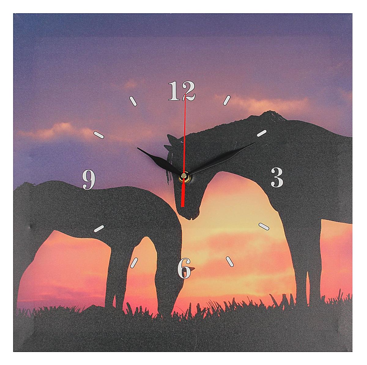 Часы настенные на холсте Лошади на закате, 40 х 40 см реутов квартиру гагарина 40