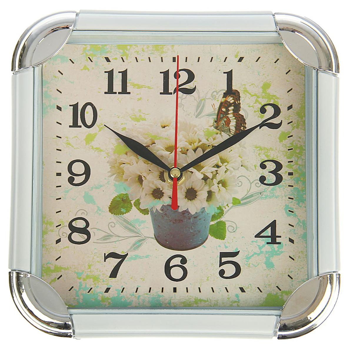 Часы настенные Ромашки с бабочкой, 19,5 х 19,5 см1716930Каждому хозяину периодически приходит мысль обновить свою квартиру, сделать ремонт, перестановку или кардинально поменять внешний вид каждой комнаты. Часы настенные Ромашки с бабочкой, квадратные с закругленными углами, 19,5 ? 19,5 см, белые — привлекательная деталь, которая поможет воплотить вашу интерьерную идею, создать неповторимую атмосферу в вашем доме. Окружите себя приятными мелочами, пусть они радуют глаз и дарят гармонию.Часы настенные квадрат, рама вставка по углам хром белая, Ромашки с бабочкой 19,5*19,5см 1716930