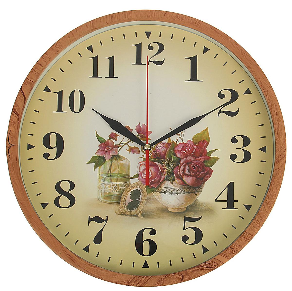 Часы настенные Пионы в пиале, диаметр 32 см1716938Каждому хозяину периодически приходит мысль обновить свою квартиру, сделать ремонт, перестановку или кардинально поменять внешний вид каждой комнаты. Часы настенные круглые Пионы в пиалке, d=32 см, рама под дерево — привлекательная деталь, которая поможет воплотить вашу интерьерную идею, создать неповторимую атмосферу в вашем доме. Окружите себя приятными мелочами, пусть они радуют глаз и дарят гармонию.Часы настенные круг, рама дерево светлое, на циферблате Пионы в пиалке d=32см 1716938