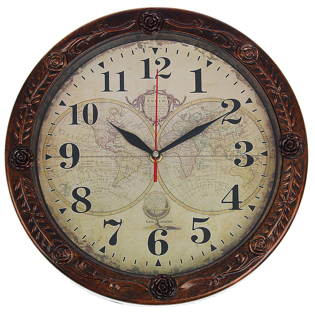 Часы настенные Карта мира, диаметр 29 см1876946Каждому хозяину периодически приходит мысль обновить свою квартиру, сделать ремонт, перестановку или кардинально поменять внешний вид каждой комнаты. Часы настенные круглые Карта мира, d= 29 cм, коричневая рама со вставками розы — привлекательная деталь, которая поможет воплотить вашу интерьерную идею, создать неповторимую атмосферу в вашем доме. Окружите себя приятными мелочами, пусть они радуют глаз и дарят гармонию.Часы настенные круглые ,кор. рама со вставками розы,на циферблате Карта мира d= 29cм 30х4 см 1876946