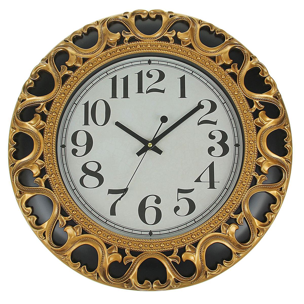Часы настенные Витория1963245Каждому хозяину периодически приходит мысль обновить свою квартиру, сделать ремонт, перестановку или кардинально поменять внешний вид каждой комнаты. — привлекательная деталь, которая поможет воплотить вашу интерьерную идею, создать неповторимую атмосферу в вашем доме. Окружите себя приятными мелочами, пусть они радуют глаз и дарят гармонию.Часы настенные серия Витория, круг, рама черная с узором завитки золото, циферблат ретро d=4 1963245
