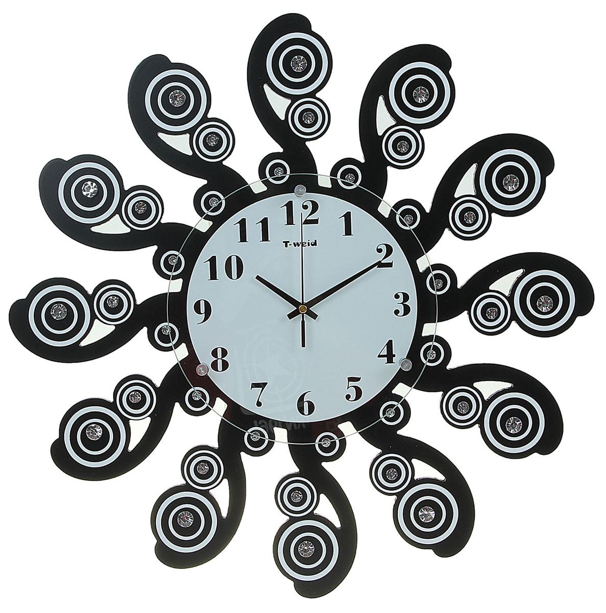 Часы настенные T-Weid Катрин, диаметр 53 см1965052Каждому хозяину периодически приходит мысль обновить свою квартиру, сделать ремонт, перестановку или кардинально поменять внешний вид каждой комнаты. — привлекательная деталь, которая поможет воплотить вашу интерьерную идею, создать неповторимую атмосферу в вашем доме. Окружите себя приятными мелочами, пусть они радуют глаз и дарят гармонию.Часы настенные серия Катрин, Завитки со стразами, черные d=53см 1965052