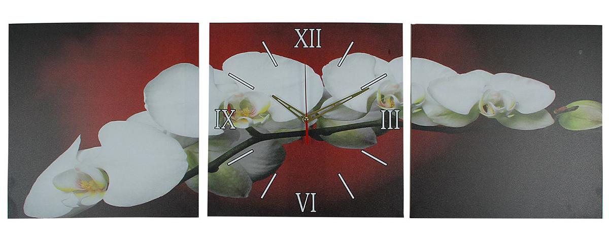"""Часы настенные модульные «Веточка орхидеи», 35 ? 110 см — сувенир в полном смысле этого слова. И главная его задача — хранить воспоминание о месте, где вы побывали, или о том человеке, который подарил данный предмет. Преподнесите эту вещь своему другу, и она станет достойным украшением его дома. Каждому хозяину периодически приходит мысль обновить свою квартиру, сделать ремонт, перестановку или кардинально поменять внешний вид каждой комнаты. Часы настенные модульные «Веточка орхидеи», 35 ? 110 см — привлекательная деталь, которая поможет воплотить вашу интерьерную идею, создать неповторимую атмосферу в вашем доме. Окружите себя приятными мелочами, пусть они радуют глаз и дарят гармонию.Часы настенные модульные """"Веточка орхидеи"""", 35х110 см микс 2044989"""