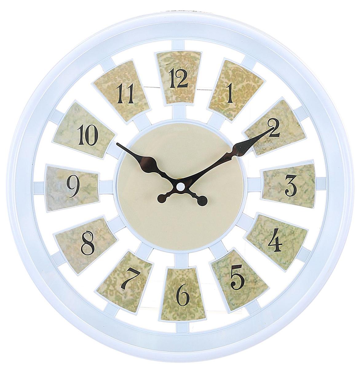 Часы настенные Цифры, цвет: бежевый, диаметр 30 см2307004Каждому хозяину периодически приходит мысль обновить свою квартиру, сделать ремонт, перестановку или кардинально поменять внешний вид каждой комнаты. — привлекательная деталь, которая поможет воплотить вашу интерьерную идею, создать неповторимую атмосферу в вашем доме. Окружите себя приятными мелочами, пусть они радуют глаз и дарят гармонию.Часы настенные серия Цифры, круг, цифры по кайме, рама бежевая, цифры кофейные d=30см, 30*5см 2307