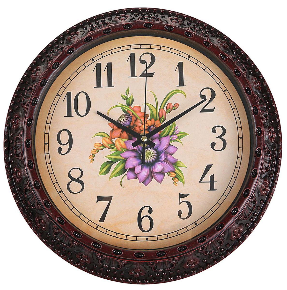 Часы настенные интерьерные Изящный букет, цвет: бордо, диаметр 30 см2334883Каждому хозяину периодически приходит мысль обновить свою квартиру, сделать ремонт, перестановку или кардинально поменять внешний вид каждой комнаты. — привлекательная деталь, которая поможет воплотить вашу интерьерную идею, создать неповторимую атмосферу в вашем доме. Окружите себя приятными мелочами, пусть они радуют глаз и дарят гармонию.Часы настенные интерьерные Изящный букет, круг, бордо, 30*5см 2334883