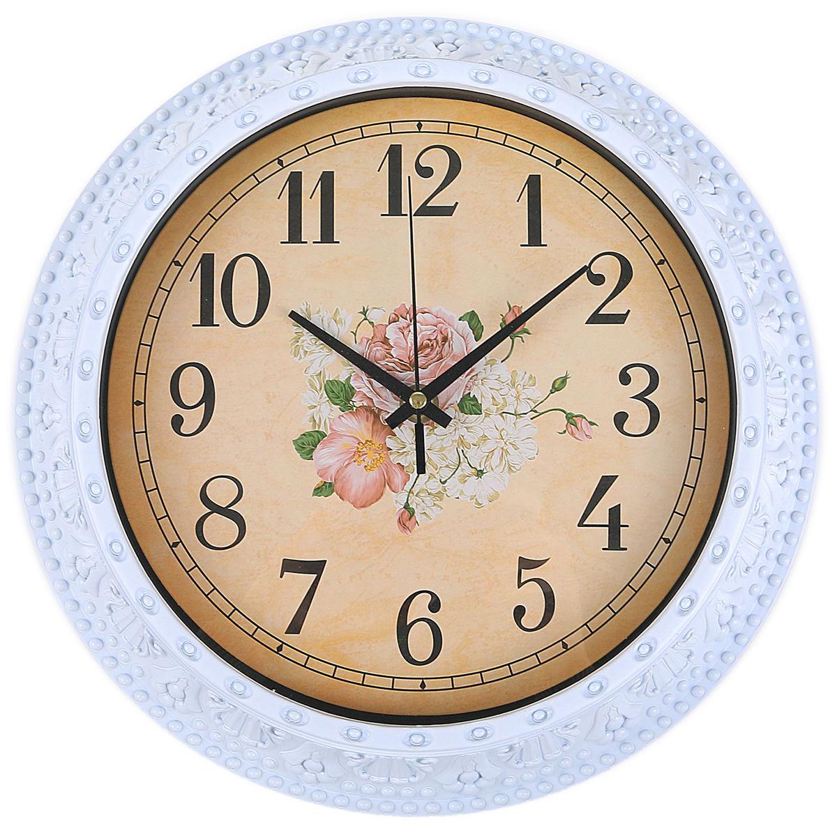 Часы настенные интерьерные Изящный букет, цвет: белый, диаметр 30 см2334884Каждому хозяину периодически приходит мысль обновить свою квартиру, сделать ремонт, перестановку или кардинально поменять внешний вид каждой комнаты. — привлекательная деталь, которая поможет воплотить вашу интерьерную идею, создать неповторимую атмосферу в вашем доме. Окружите себя приятными мелочами, пусть они радуют глаз и дарят гармонию.Часы настенные интерьерные Изящный букет, круг, белый, 30*5см 2334884
