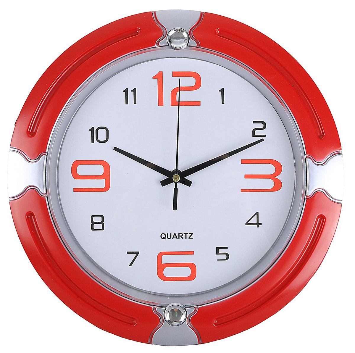 Часы настенные, цвет: красный, серебристый, диаметр 27 см2334901Каждому хозяину периодически приходит мысль обновить свою квартиру, сделать ремонт, перестановку или кардинально поменять внешний вид каждой комнаты. — привлекательная деталь, которая поможет воплотить вашу интерьерную идею, создать неповторимую атмосферу в вашем доме. Окружите себя приятными мелочами, пусть они радуют глаз и дарят гармонию.Часы настенные классика, 12,3,6,9-большие, красные, круг, серебристые вставки 27*3см 2334901