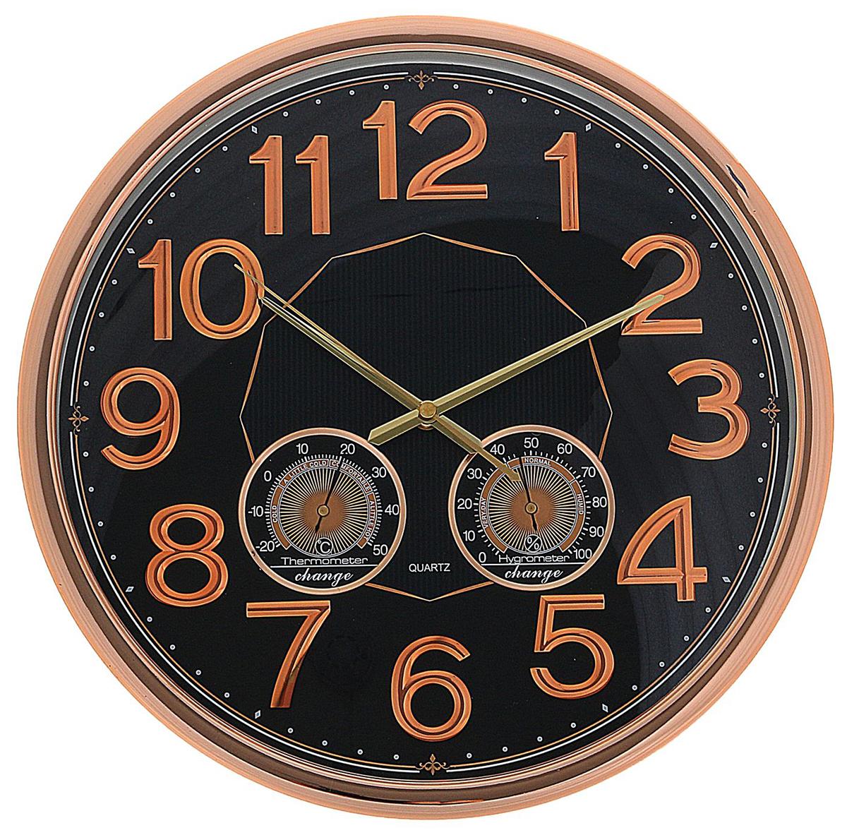 Часы настенные интерьерные, с термометром и гигрометром, цвет: бронза, диаметр 38 см. 23421672342167Каждому хозяину периодически приходит мысль обновить свою квартиру, сделать ремонт, перестановку или кардинально поменять внешний вид каждой комнаты. — привлекательная деталь, которая поможет воплотить вашу интерьерную идею, создать неповторимую атмосферу в вашем доме. Окружите себя приятными мелочами, пусть они радуют глаз и дарят гармонию.Часы настенные интерьерные под бронзу, объёмные цифры, термометр, гигрометр круг 38*5 см 2342167