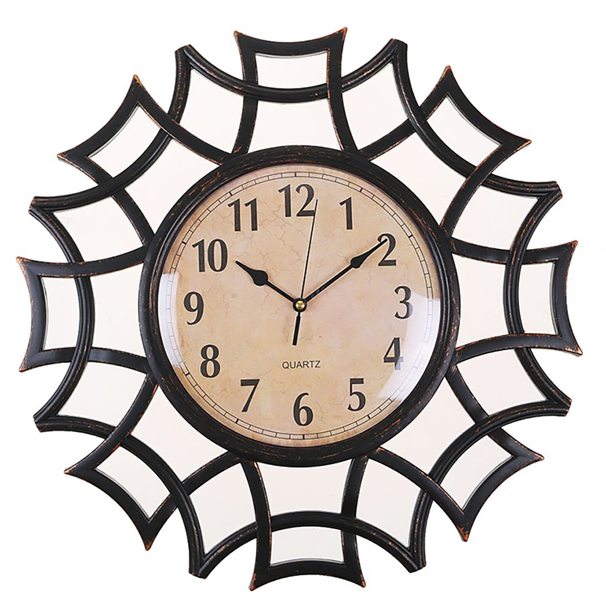 Часы настенные Лепнина, с 2 зеркалами, цвет: черный, 40 х 40 см 2 х комнатную квартиру в макеевке украина