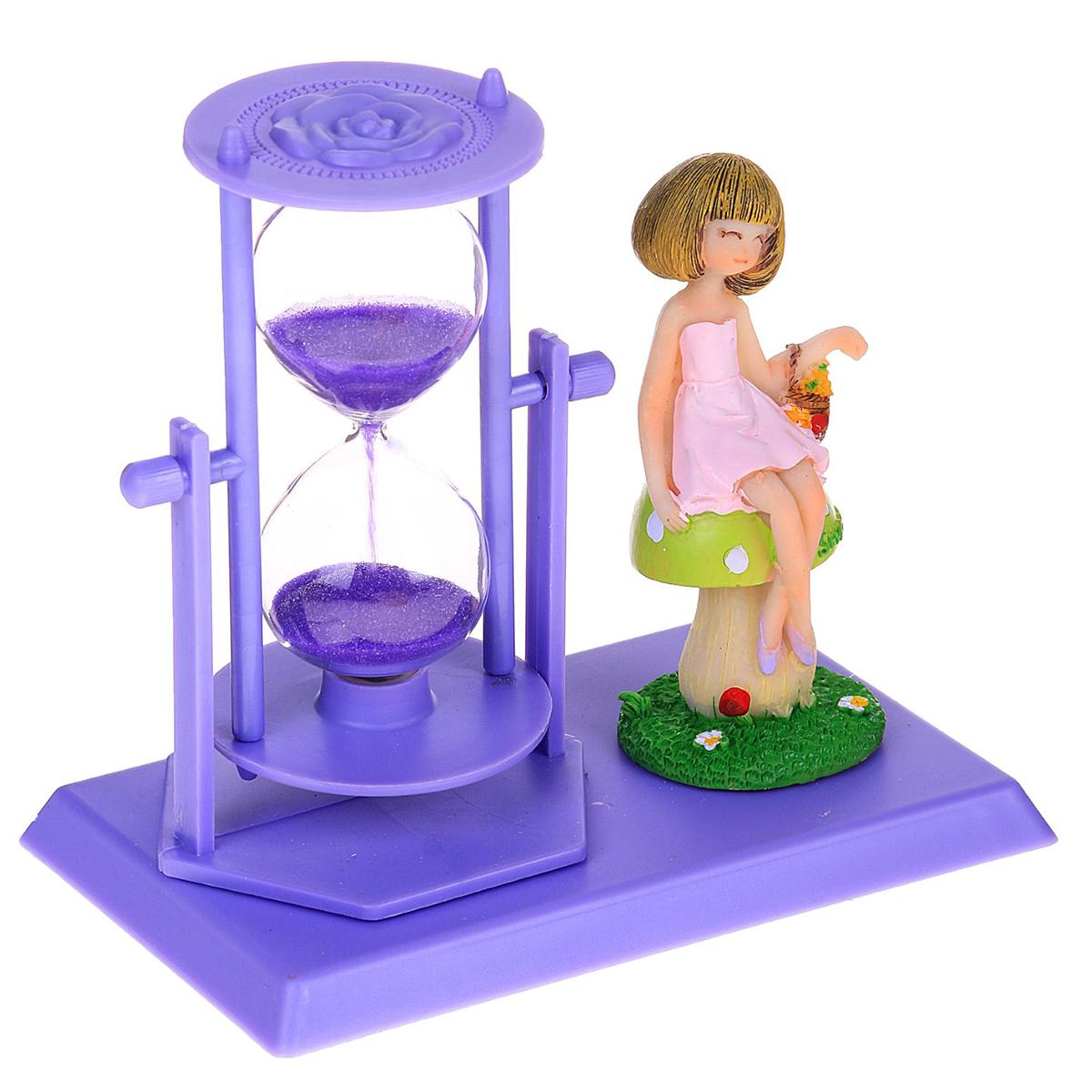 Песочные часы Цветы. Девочка на грибочке, цвет: фиолетовый, 14 х 13 х 9 см2355530Каждому хозяину периодически приходит мысль обновить свою квартиру, сделать ремонт, перестановку или кардинально поменять внешний вид каждой комнаты. — привлекательная деталь, которая поможет воплотить вашу интерьерную идею, создать неповторимую атмосферу в вашем доме. Окружите себя приятными мелочами, пусть они радуют глаз и дарят гармонию.Часы песочные, серия Цветы, фиолетовые, девочка на грибочке, 14*13*9см 2355530