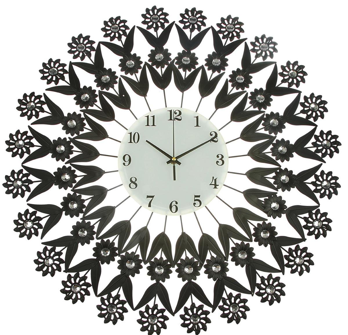 Часы настенные Ажур. Черные цветочки, диаметр 65 см2364653Каждому хозяину периодически приходит мысль обновить свою квартиру, сделать ремонт, перестановку или кардинально поменять внешний вид каждой комнаты. — привлекательная деталь, которая поможет воплотить вашу интерьерную идею, создать неповторимую атмосферу в вашем доме. Окружите себя приятными мелочами, пусть они радуют глаз и дарят гармонию.Часы настенные серия Ажур,циферблат круг, чёрные цветочки со стразами, d=65 см, 1AA 2364653