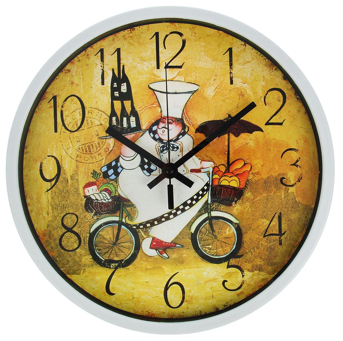 Часы настенные Повар на велосипеде, диаметр 30 см2364709Каждому хозяину периодически приходит мысль обновить свою квартиру, сделать ремонт, перестановку или кардинально поменять внешний вид каждой комнаты. — привлекательная деталь, которая поможет воплотить вашу интерьерную идею, создать неповторимую атмосферу в вашем доме. Окружите себя приятными мелочами, пусть они радуют глаз и дарят гармонию.Часы настенные круг, Повар на велосипеде, d=30см 2364709