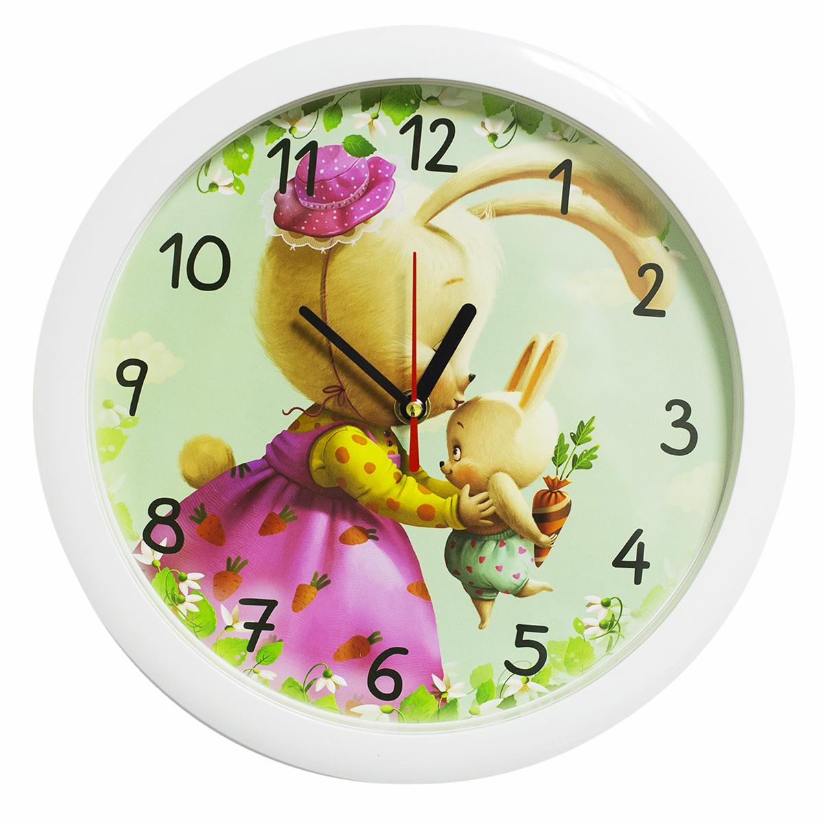 Часы настенные Соломон Зайки2436378Каждому хозяину периодически приходит мысль обновить свою квартиру, сделать ремонт, перестановку или кардинально поменять внешний вид каждой комнаты. — привлекательная деталь, которая поможет воплотить вашу интерьерную идею, создать неповторимую атмосферу в вашем доме. Окружите себя приятными мелочами, пусть они радуют глаз и дарят гармонию.Настенные часы пластик Зайки, белый обод 2436378