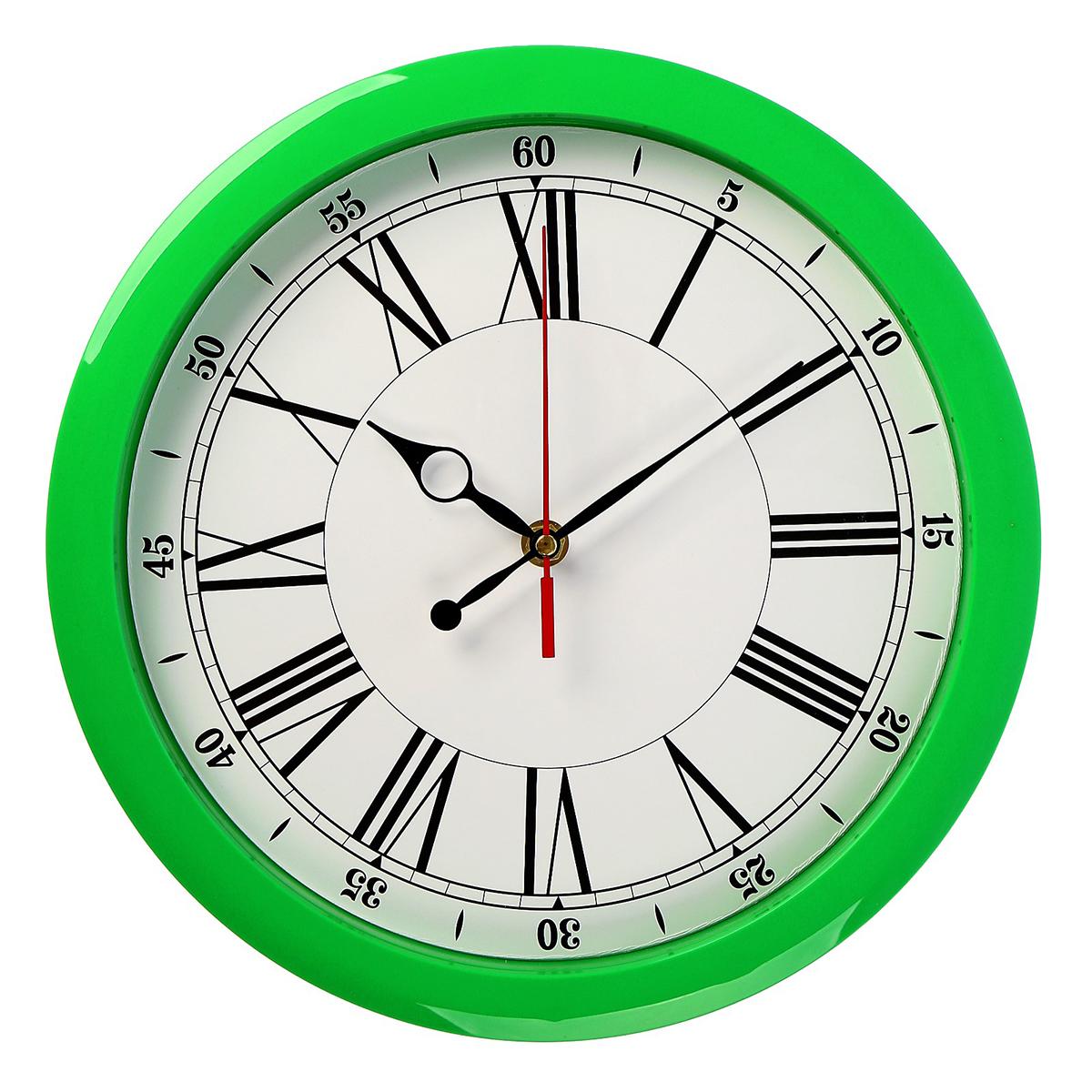 Часы настенные Классика, цвет: зеленый. 24364862436486Каждому хозяину периодически приходит мысль обновить свою квартиру, сделать ремонт, перестановку или кардинально поменять внешний вид каждой комнаты. — привлекательная деталь, которая поможет воплотить вашу интерьерную идею, создать неповторимую атмосферу в вашем доме. Окружите себя приятными мелочами, пусть они радуют глаз и дарят гармонию.Настенные часы пластик Классика, зелёный обод 2436486