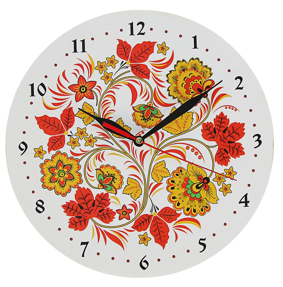 Часы настенные Хохлома, цвет: белый, диаметр 25 см2479214Проводите время с пользой Настоящий мужской отдых невозможен без хорошей бани! Чтобы не потерять ощущение времени, проводя приятный досуг в отличной компании, повесьте на стену часы, но не простые, а те, что отражают настроение и вписываются в интерьер. Наши часы с пожеланием «Русская баня» станут полезным приобретением, которое будет долго радовать владельца. Если стрелки остановятся, поменяйте батарейку и вперед — париться и отдыхать!Часы Хохлома белый фон, O 25см 2479214