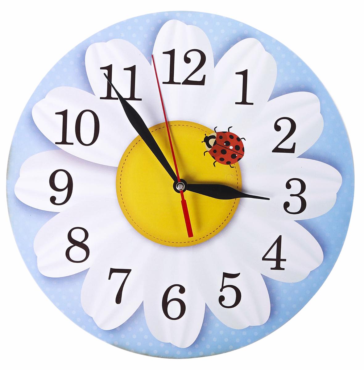 Часы настенные Ромашка, диаметр 25 см крючки настенные мультидом планка 5 крючками ромашка