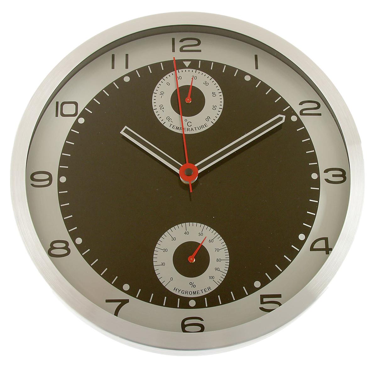Часы настенные с термометром и гигрометром, цвет: хром, черный, диаметр 33 см2578131Каждому хозяину периодически приходит мысль обновить свою квартиру, сделать ремонт, перестановку или кардинально поменять внешний вид каждой комнаты. — привлекательная деталь, которая поможет воплотить вашу интерьерную идею, создать неповторимую атмосферу в вашем доме. Окружите себя приятными мелочами, пусть они радуют глаз и дарят гармонию.Часы настенные круг, рама хром, циферблат черный, гигрометр, термомерт d=33см 2578131