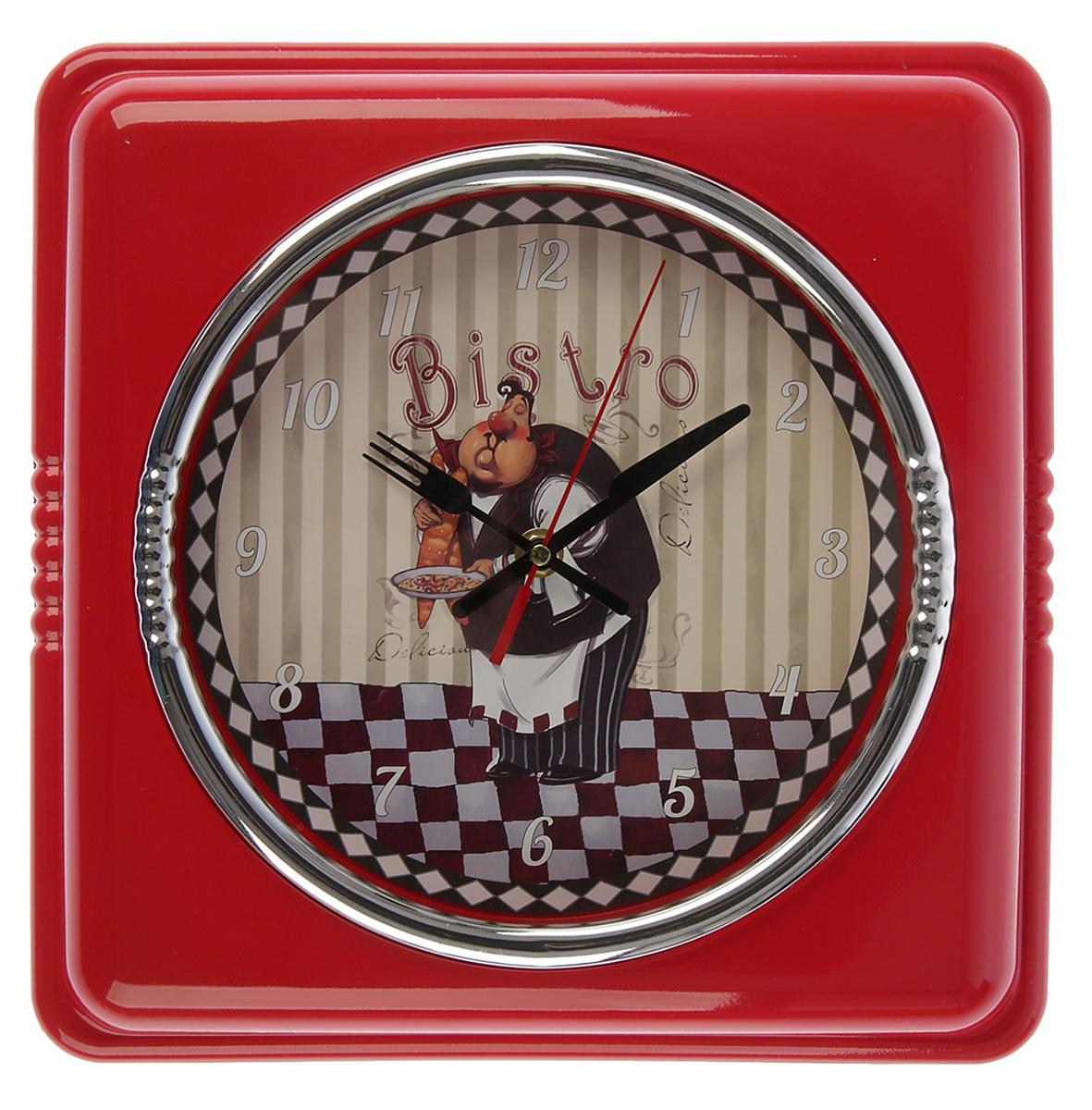 Часы настенные Поваренок, цвет: красный, 30 х 30 см2581947Каждому хозяину периодически приходит мысль обновить свою квартиру, сделать ремонт, перестановку или кардинально поменять внешний вид каждой комнаты. — привлекательная деталь, которая поможет воплотить вашу интерьерную идею, создать неповторимую атмосферу в вашем доме. Окружите себя приятными мелочами, пусть они радуют глаз и дарят гармонию.Часы настенные Поварёнок, рама квадрат красная 30*30 2581947