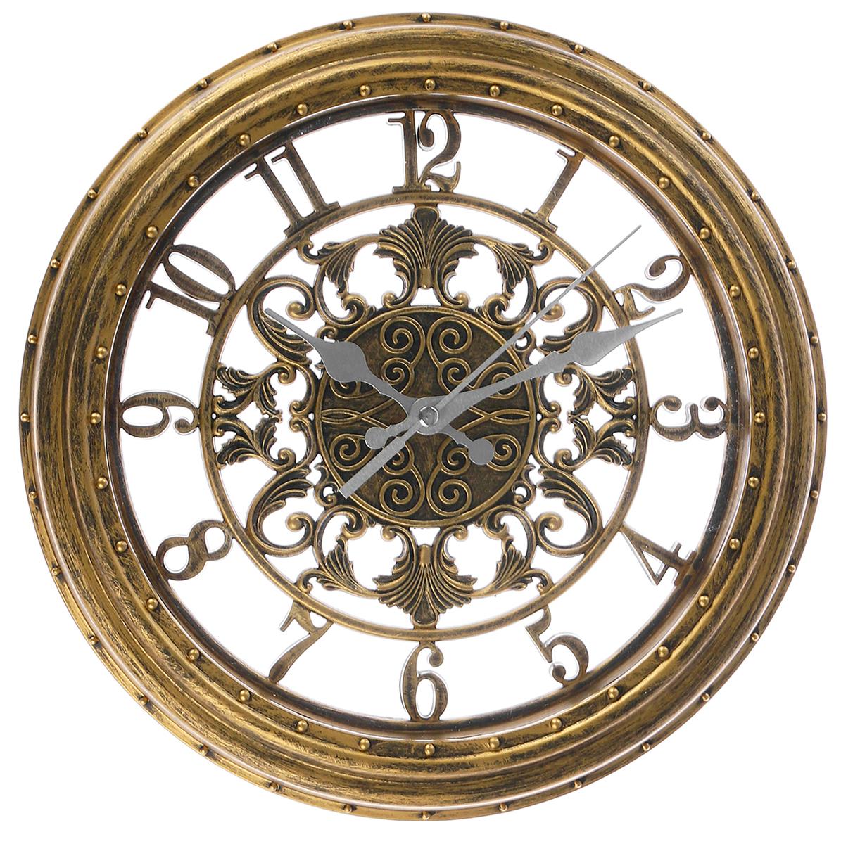 Часы настенные Цифры, цвет: золото, 28 см2585349Каждому хозяину периодически приходит мысль обновить свою квартиру, сделать ремонт, перестановку или кардинально поменять внешний вид каждой комнаты. Часы настенные Цифры, диаметром 28 см, это привлекательная деталь, которая поможет воплотить вашу интерьерную идею, создать неповторимую атмосферу в вашем доме. Окружите себя приятными мелочами, пусть они радуют глаз и дарят гармонию. Часы настенные серия Цифры, круг, цифры по кайме, рама золото, d=28 см., 2585346.