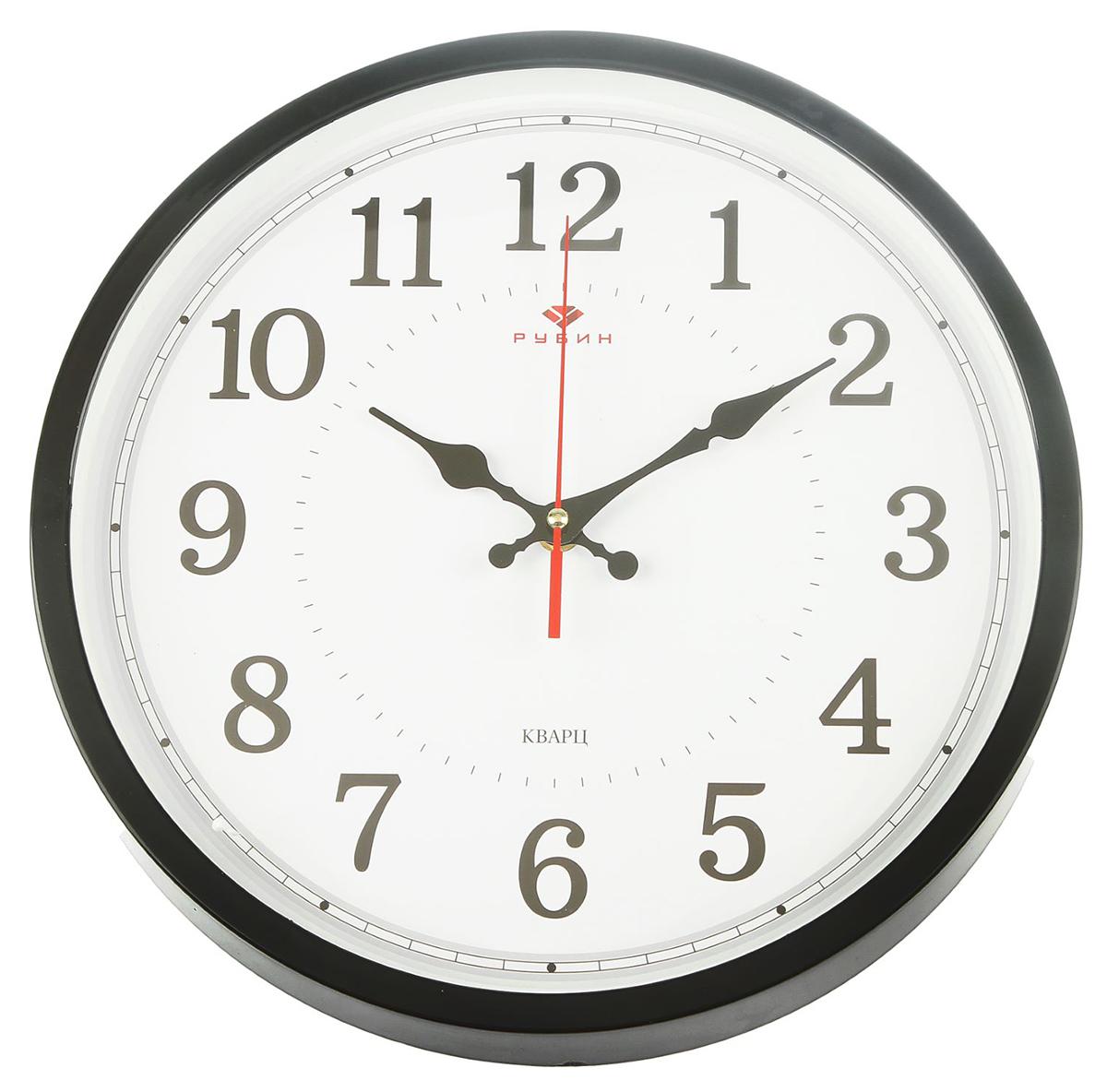 Часы настенные Рубин Классика, цвет: черный, диаметр 30 см2589490Каждому хозяину периодически приходит мысль обновить свою квартиру, сделать ремонт, перестановку или кардинально поменять внешний вид каждой комнаты. — привлекательная деталь, которая поможет воплотить вашу интерьерную идею, создать неповторимую атмосферу в вашем доме. Окружите себя приятными мелочами, пусть они радуют глаз и дарят гармонию.— сувенир в полном смысле этого слова. И главная его задача — хранить воспоминание о месте, где вы побывали, или о том человеке, который подарил данный предмет. Преподнесите эту вещь своему другу, и она станет достойным украшением его дома.Часы настенные круглые Классика, корпус чёрный Рубин 30х30 см 2589490