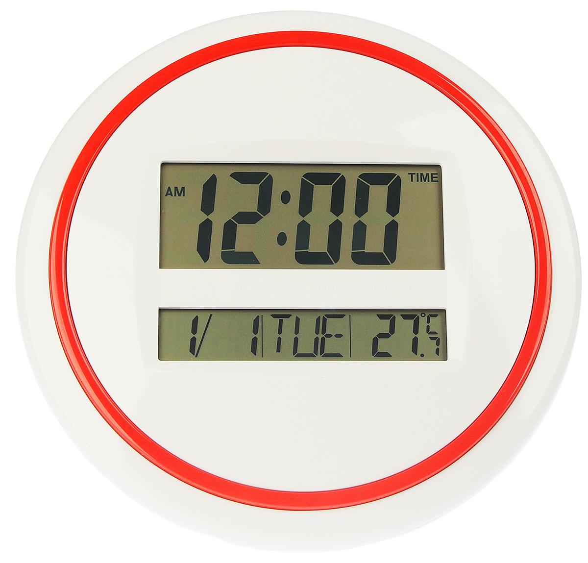 Часы настенные электронные, 26 х 26 см2590506Каждому хозяину периодически приходит мысль обновить свою квартиру, сделать ремонт, перестановку или кардинально поменять внешний вид каждой комнаты. — привлекательная деталь, которая поможет воплотить вашу интерьерную идею, создать неповторимую атмосферу в вашем доме. Окружите себя приятными мелочами, пусть они радуют глаз и дарят гармонию.Электронные настенные часы круг, красный контур, дата, температура, 2 АА 26*26см 2590506