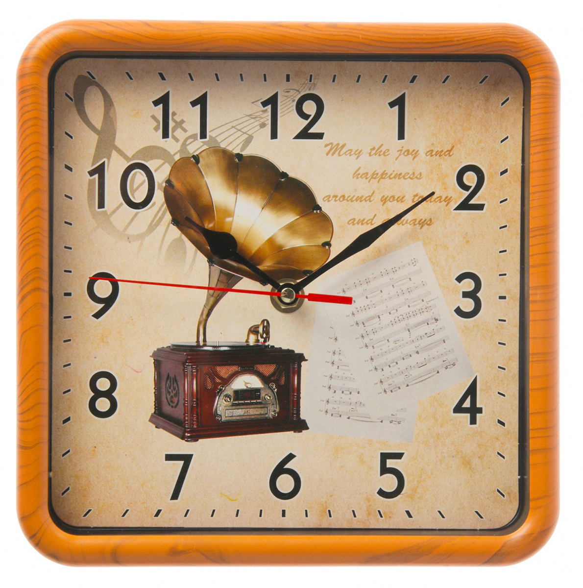 Часы настенные Граммофон, 21 х 21 см2590541Каждому хозяину периодически приходит мысль обновить свою квартиру, сделать ремонт, перестановку или кардинально поменять внешний вид каждой комнаты. — привлекательная деталь, которая поможет воплотить вашу интерьерную идею, создать неповторимую атмосферу в вашем доме. Окружите себя приятными мелочами, пусть они радуют глаз и дарят гармонию.Часы настенные классика квадрат пластик, окантовка под дерево, циферблат граммофон 21*21см 2590541